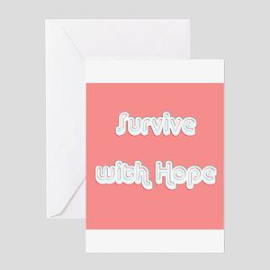 Survive w/ Hope Cancer Survivor Pin Greeting Cards