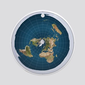 Flat Earth Map Flat Earther Globe Round Ornament
