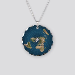 Flat Earth Map Flat Earther Globe Necklace