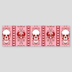 Baroque-Skull-Pattern-Stripe_pink-R Bumper Sticker