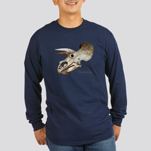 Triceratops Skull Long Sleeve Dark T-Shirt