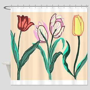 Tulip Bordering Pattern lt pink Shower Curtain