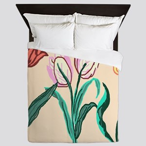 Tulip Bordering Pattern lt pink Queen Duvet