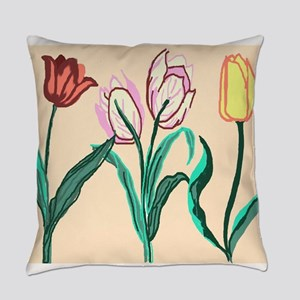 Tulip Bordering Pattern lt pink Everyday Pillow