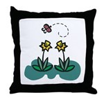 Yellow Daffoldils & Butterfly Throw Pillow