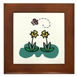 Yellow Daffoldils & Butterfly Framed Tile