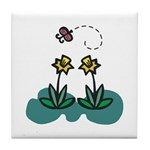 Yellow Daffoldils & Butterfly Tile Coaster