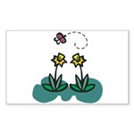 Yellow Daffoldils & Butterfly Rectangle Sticker 5