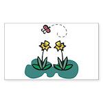 Yellow Daffoldils & Butterfly Rectangle Sticker 1
