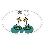 Yellow Daffoldils & Butterfly Oval Sticker (50 pk)