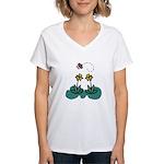 Yellow Daffoldils & Butterfly Women's V-Neck T-Shi