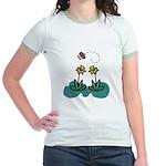 Yellow Daffoldils & Butterfly Jr. Ringer T-Shirt