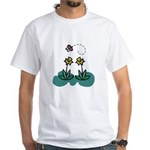 Yellow Daffoldils & Butterfly White T-Shirt