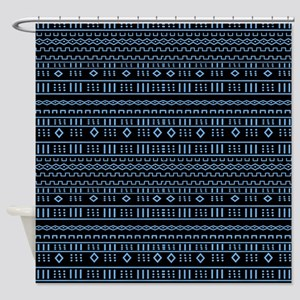 Modern Mudcloth Black And Blue Shower Curtain