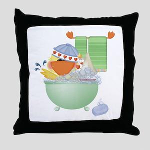 Cute Bathtime Ducky Throw Pillow
