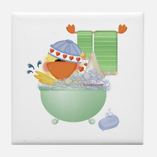 Cute Bathtime Ducky Tile Coaster