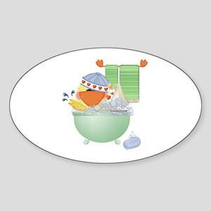 Cute Bathtime Ducky Oval Sticker