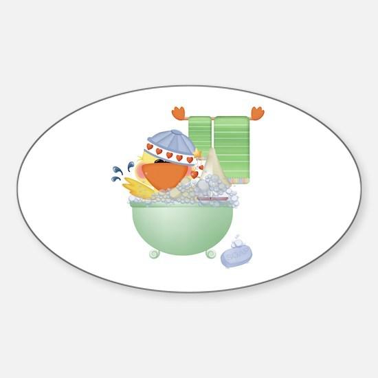 Cute Bathtime Ducky Oval Decal
