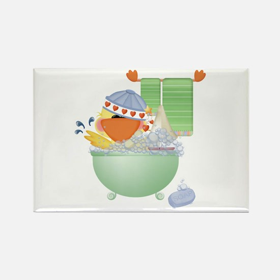 Cute Bathtime Ducky Rectangle Magnet