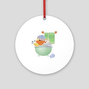 Cute Bathtime Ducky Ornament (Round)