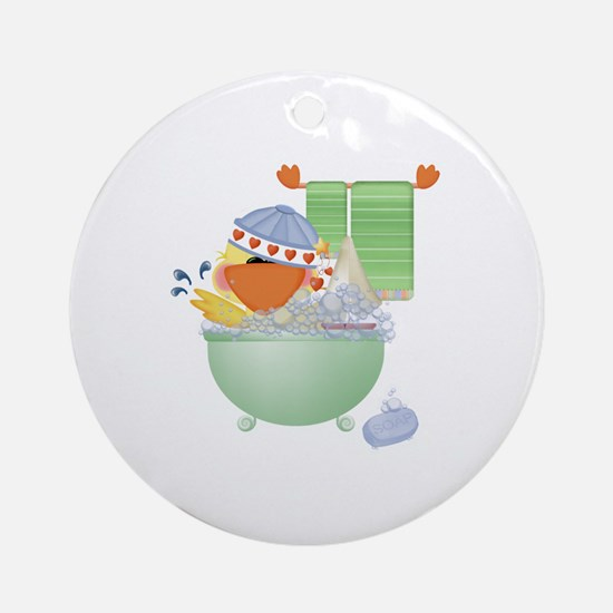 Cute Bathtime Ducky Ornament (Round)