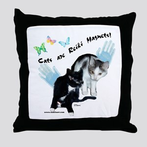 Cats Are Reiki Magnets Throw Pillow