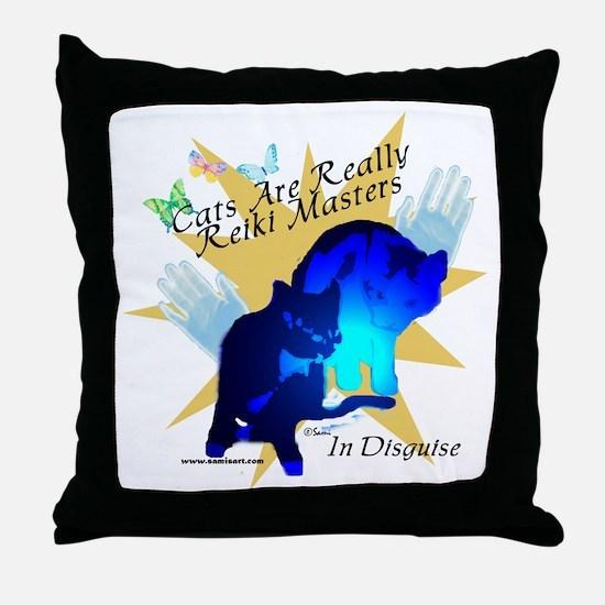 Cat Reiki Master Throw Pillow