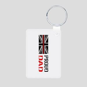 British Flag Red Line: Pro Aluminum Photo Keychain