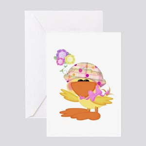 Cute Baby Girl Ducky Duck Greeting Card