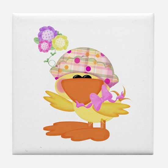 Cute Baby Girl Ducky Duck Tile Coaster