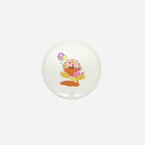 Cute Baby Girl Ducky Duck Mini Button
