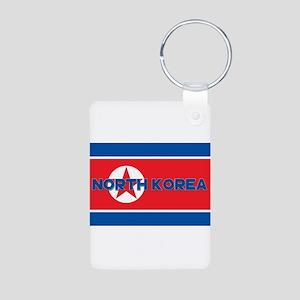 North Korean Flag (Labeled Aluminum Photo Keychain