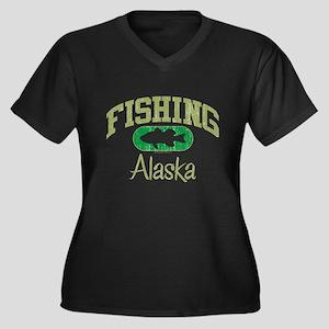 FISHING ALASKA Women's Plus Size V-Neck Dark T-Shi