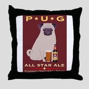 Pug All Star Ale Throw Pillow