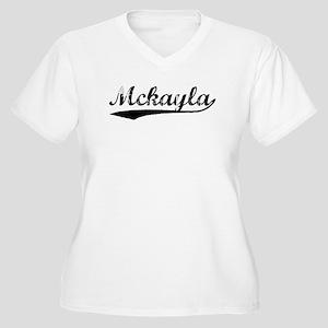 Vintage Mckayla (Black) Women's Plus Size V-Neck T