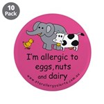 """Eggs nuts & dairy-pink 3.5"""" Button (10 pa"""