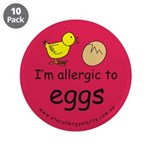 """I'm allergic to eggs-red 3.5"""" Button (10 pack"""