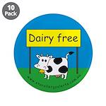 "Dairy free-allergy alert 3.5"" Button (10 pack"