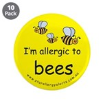 "I'm allergic to bees 3.5"" Button (10 pack)"