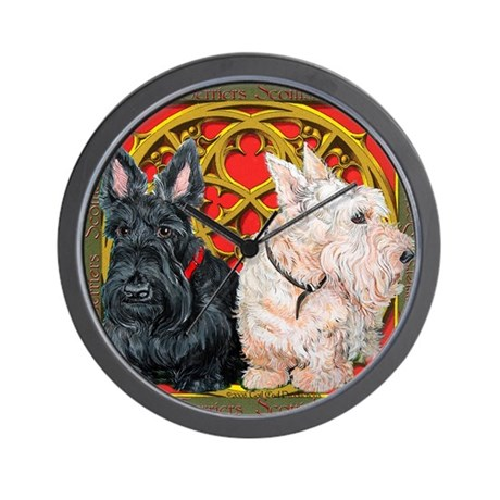 Scottish Terriers Celtic Dogs Wall Clock