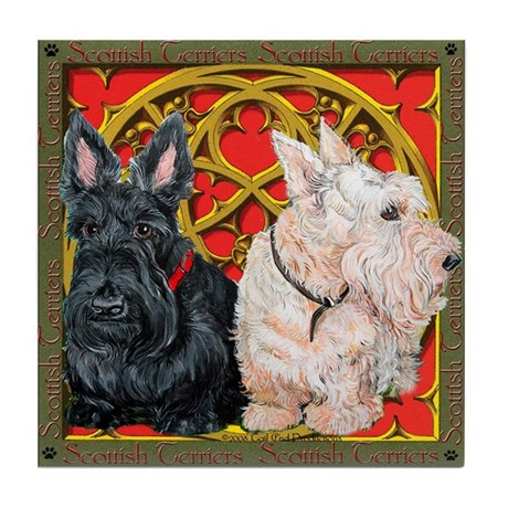 Scottish Terriers Celtic Dogs Tile Coaster