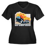 Best ride Women's Plus Size V-Neck Dark T-Shirt