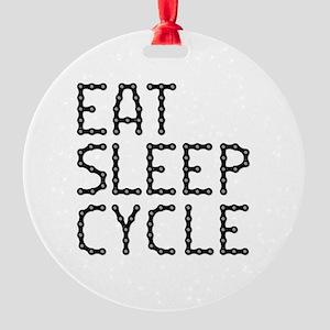 EAT, SLEEP, CYCLE Round Ornament
