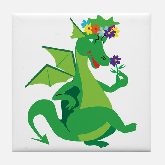 Flower Dragon Tile Coaster