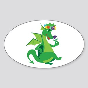 Flower Dragon Oval Sticker
