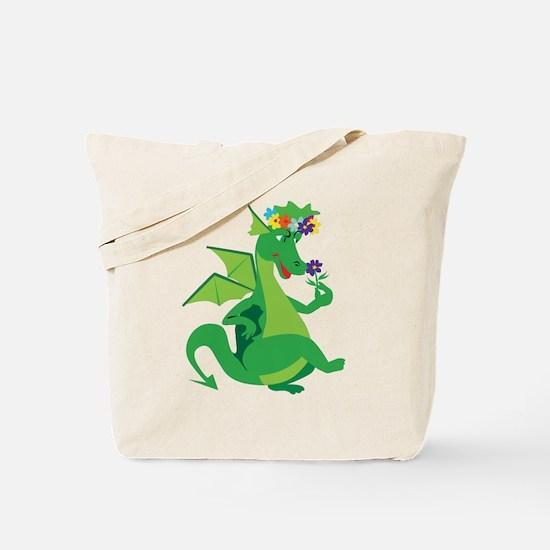 Flower Dragon Tote Bag