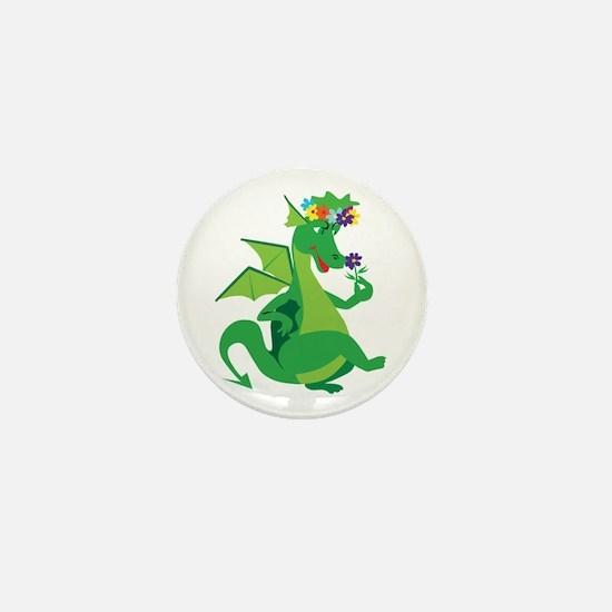 Flower Dragon Mini Button