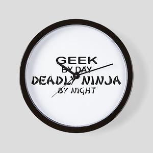 Geek Deadly Ninja by Night Wall Clock