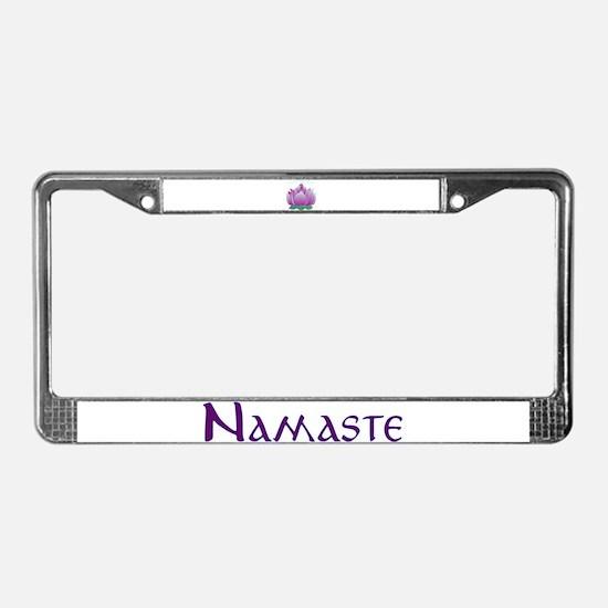 Namaste and Lotus License Plate Frame