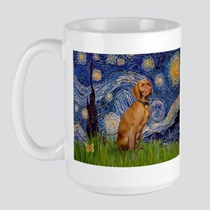 Starry Night & Vizsla Large Mug